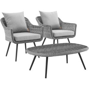 Endeavor 3 Piece Outdoor Patio Wicker Rattan Armchair and Coffee Table Set