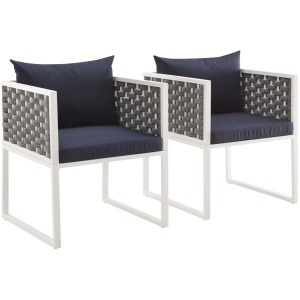 Stance Dining Armchair Outdoor Patio Aluminum Set of 2