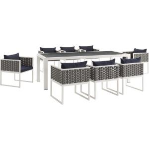 Stance 9 Piece Outdoor Patio Aluminum Dining Set