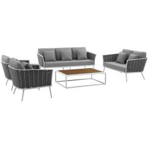 Stance 5 Piece Outdoor Patio Aluminum Sectional Sofa Set