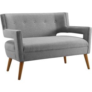 Sheer Upholstered Fabric Loveseat
