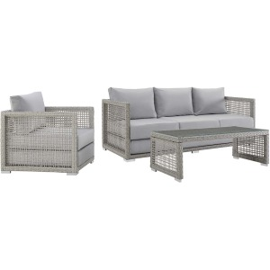 Aura 3 Piece Outdoor Patio Wicker Rattan Set