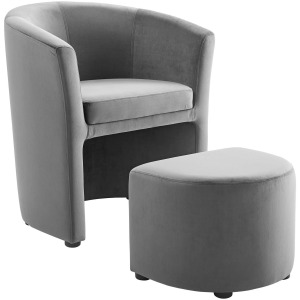 Divulge Performance Velvet Arm Chair and Ottoman Set