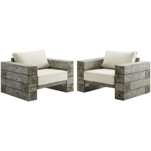 Manteo Rustic Coastal Outdoor Patio Sunbrella Lounge Armchair Set of 2
