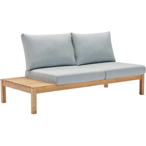 Freeport Karri Wood Outdoor Patio Loveseat with Right-Facing Side End Table