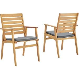 Syracuse Outdoor Patio Eucalyptus Wood Dining Chair Set of 2