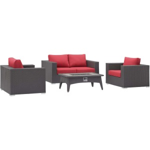 Convene 4 Piece Set Outdoor Patio with Fire Pit