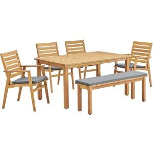 Syracuse 6 Piecce Outdoor Patio Eucalyptus Wood Dining Set