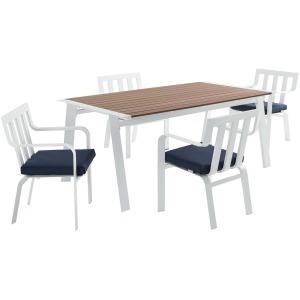 Baxley 5 Piece Outdoor Patio Aluminum Dining Set