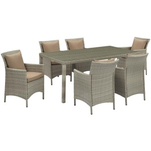 Conduit 7 Piece Outdoor Patio Wicker Rattan Dining Set