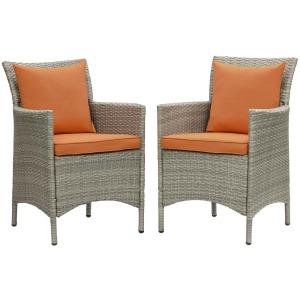 Conduit Outdoor Patio Wicker Rattan Dining Armchair Set of 2