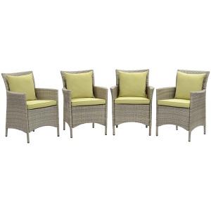 Conduit Outdoor Patio Wicker Rattan Dining Armchair Set of 4