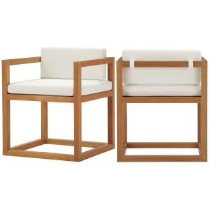 Newbury Outdoor Patio Premium Grade A Teak Wood Accent Armchair Set of 2