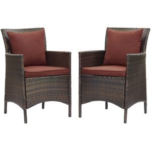 Conduit Outdoor Patio Wicker Rattan Dining Armchair Set of 2