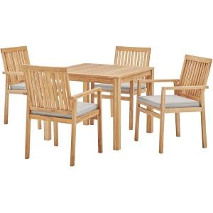 Farmstay 5 Piece Outdoor Patio Teak Wood Dining Set