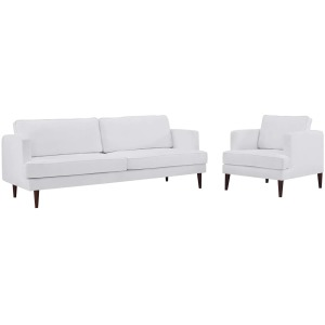 Agile Upholstered Fabric Sofa and Armchair Set