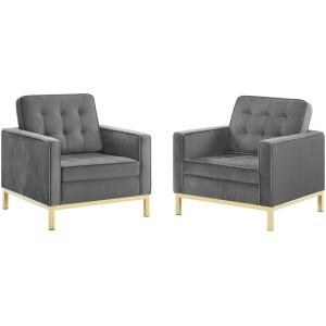 Loft Gold Stainless Steel Leg Performance Velvet Armchair Set of 2