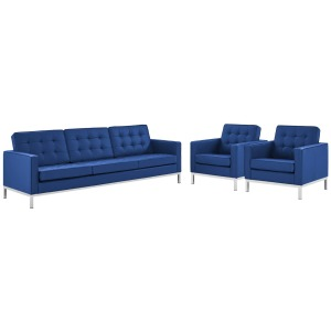 Loft 3 Piece Tufted Upholstered Faux Leather Set