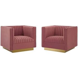Sanguine Vertical Channel Tufted Upholstered Performance Velvet Armchair Set of 2