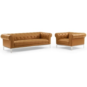 Idyll Tufted Upholstered Leather Sofa and Armchair Set