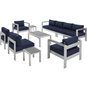 Shore Sunbrella Fabric Outdoor Patio Aluminum 9 Piece Sectional Sofa Set