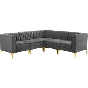 Triumph Channel Tufted Performance Velvet 5-Piece Sectional Sofa