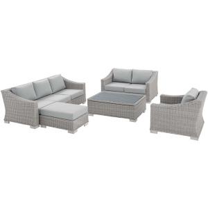 Conway Sunbrella Outdoor Patio Wicker Rattan 5-Piece Furniture Set