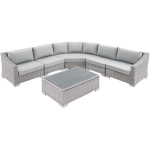 Conway Sunbrella Outdoor Patio Wicker Rattan 6-Piece Sectional Sofa Set
