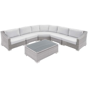 Conway Sunbrella Outdoor Patio Wicker Rattan 6-Piece Sectional Sofa Set