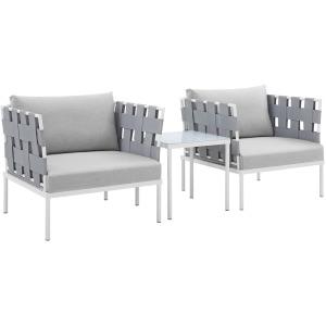 Harmony 3-Piece Sunbrella Outdoor Patio Aluminum Seating Set