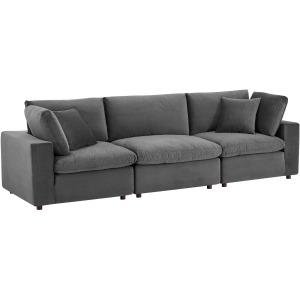 Commix Down Filled Overstuffed Performance Velvet 3-Seater Sofa