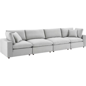 Commix Down Filled Overstuffed Performance Velvet 4-Seater Sofa