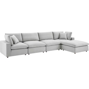 Commix Down Filled Overstuffed Performance Velvet 5-Piece Sectional Sofa