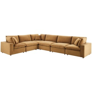 Commix Down Filled Overstuffed Performance Velvet 6-Piece Sectional Sofa