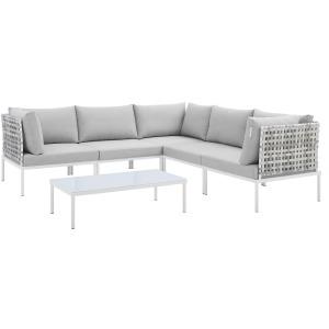 Harmony 6-Piece Sunbrella Basket Weave Outdoor Patio Aluminum Sectional Sofa Set