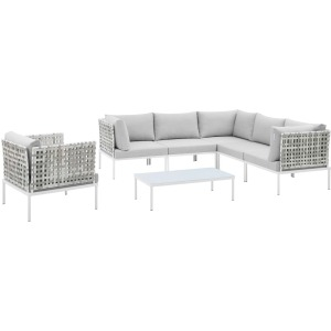 Harmony 7-Piece Sunbrella Basket Weave Outdoor Patio Aluminum Sectional Sofa Set