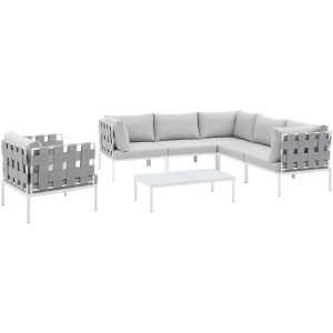 Harmony 7-Piece Sunbrella Outdoor Patio Aluminum Sectional Sofa Set