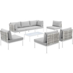 Harmony 8-Piece Sunbrella Basket Weave Outdoor Patio Aluminum Sectional Sofa Set