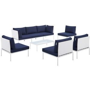 Harmony 8-Piece Sunbrella Outdoor Patio Aluminum Sectional Sofa Set