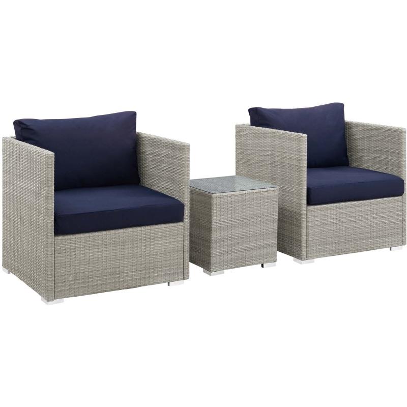Repose 3 Piece Outdoor Patio Sunbrella® Sectional Set