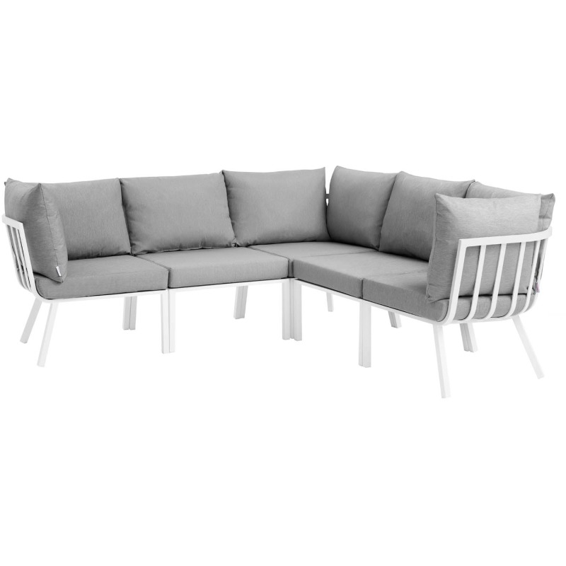Riverside 5 Piece Outdoor Patio Aluminum Sectional