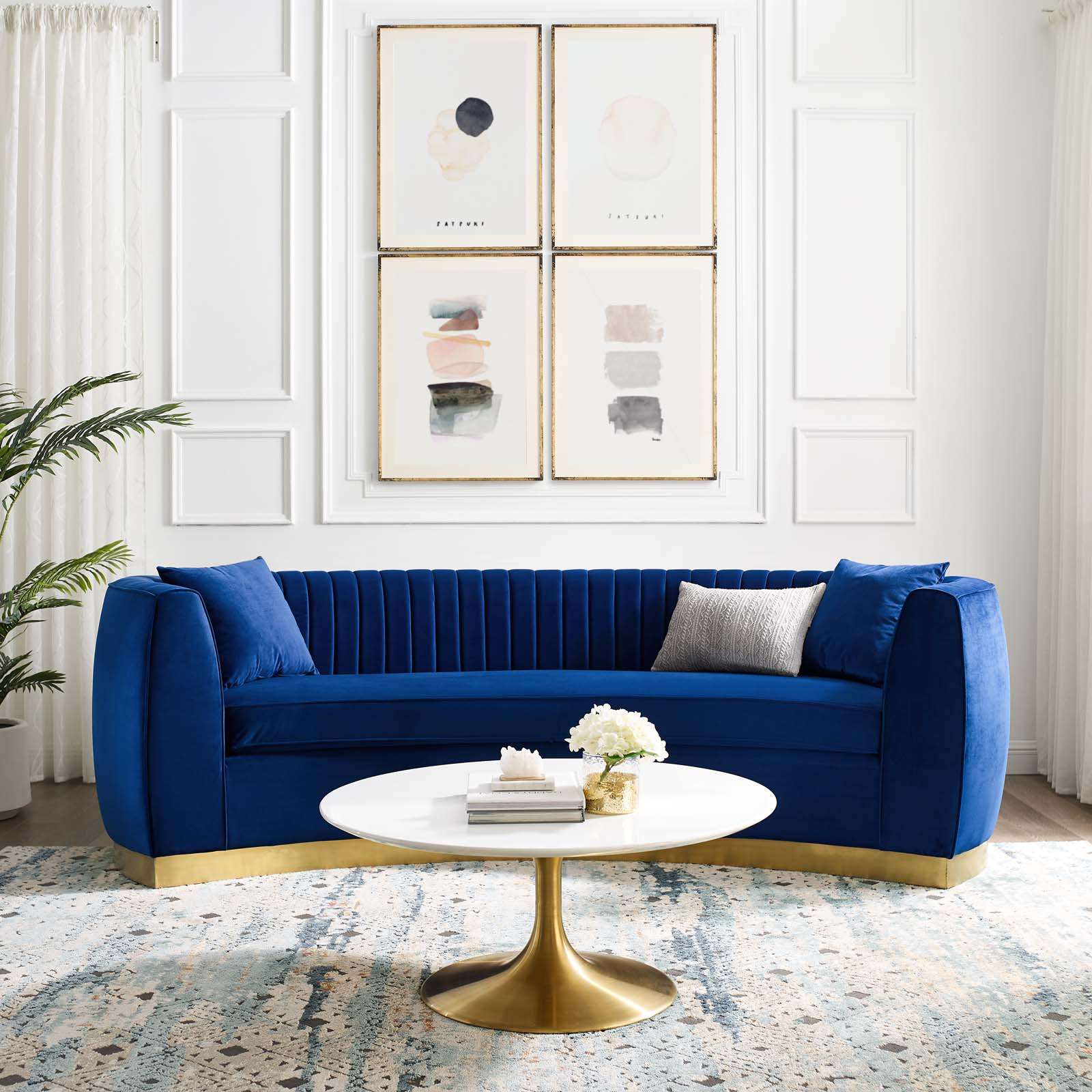 Enthusiastic Vertical Channel Tufted Curved Performance Velvet Sofa By Modway Eei 3407 Nav Tomlinson Furniture