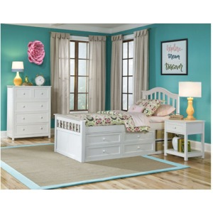 Schoolhouse 4.0 Twin Finley Captains Bed - White