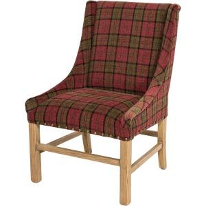Josh Arm Chair Natural / Cranberry Plaid