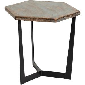 Hex Low Accent Table Antique Blue