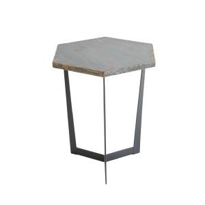 Hex Accent Table Antique Blue
