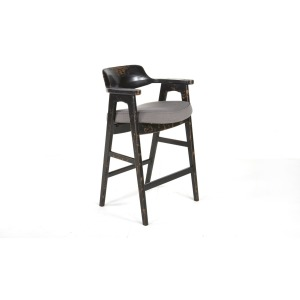 Wagner Bar Chair Distressed Black / Grey