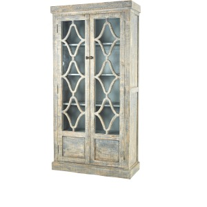 Maribelle Small Cabinet Antique Blue with Blue Interior