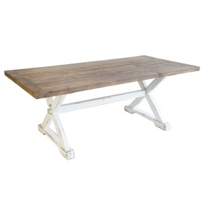 Mimi Dining Table Natural Top & Antique White Base