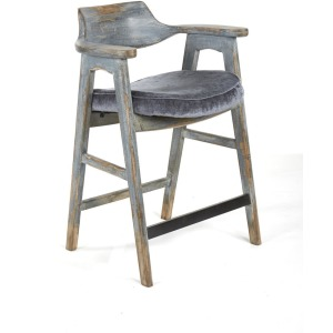 Wagner Counter Chair Distressed Blue / Vintage Pewter